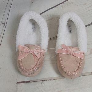NWOT Jessica Simpson Fuzzy Pink Metallic Slippers